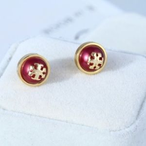 New Tory Burch Red Pearl T-Logo Gold Stud Earrings